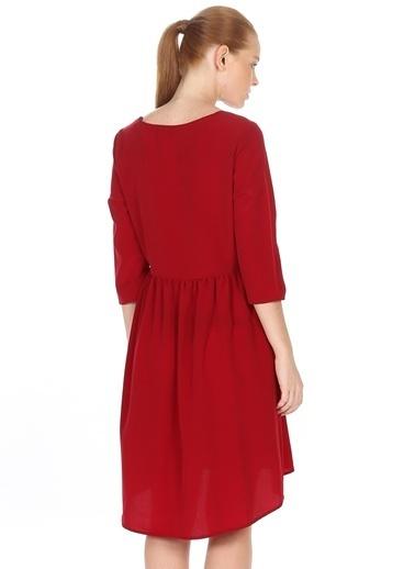 Caramel Kısa Kollu Beli Büzgülü Elbise Bordo